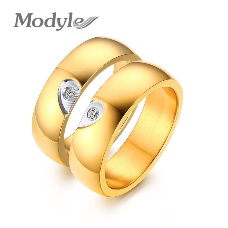 Modyle 2016 Heart Rings for Women Men Wedding Jewelry New Fashion 18K Gold Plated Engagement Promise CZ Diamond Ring Jewelry(China (Mainland))