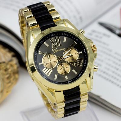 Fashion Men Geneva Brand Full steel Quartz watch women luxury casual dress wristwatches ladies gold dial clock Alloy relogio - skmei factory store