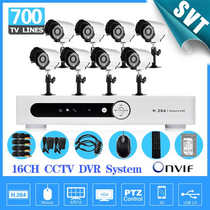 Home 16channel CCTV DVR security System with 8pcs 700tvl IR Day Night camera video surveillance system dvr kit 1000gb hard drive(China (Mainland))