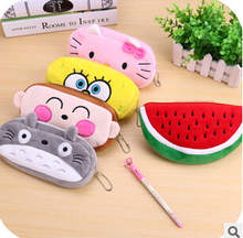 Kawaii Cartoon Animal Large Capacity Plush Pencil Holder Storage Pouch Cosmetic Bag Promotional Gift Stationery(China (Mainland))