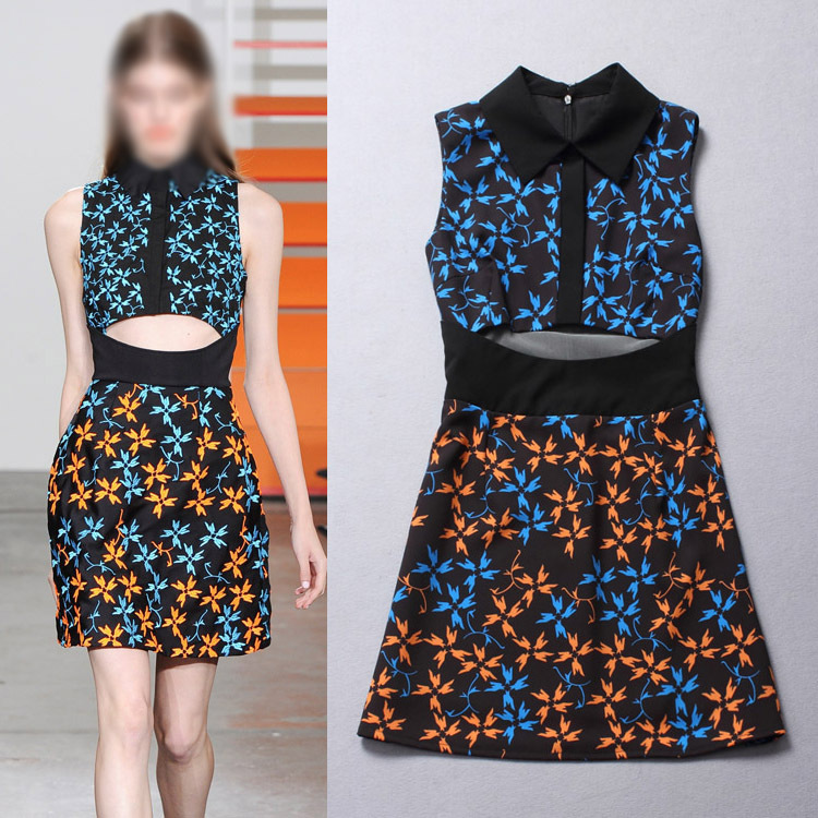 2015 Early Spring Summer New Fashion Runway Women's Sleeveless Show Stomach Printed Mini Sheath Vest Sexy Dres(China (Mainland))