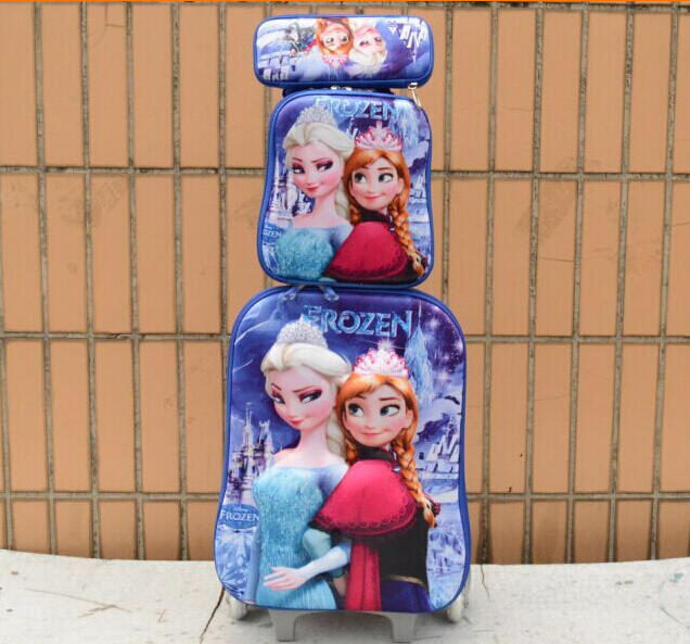 Free shipping travel suitcase sets 3D crown fashion luggage (lunch box + pen boxes+trolley luggage ) kids luggage(China (Mainland))