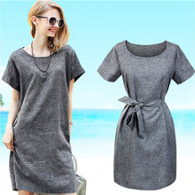 2016 New Spring Summer Womens Dress Thin Cotton Linen Breathable Slim Dresses Large Size Short-Sleeve Color Gray Dress QX8057(China (Mainland))