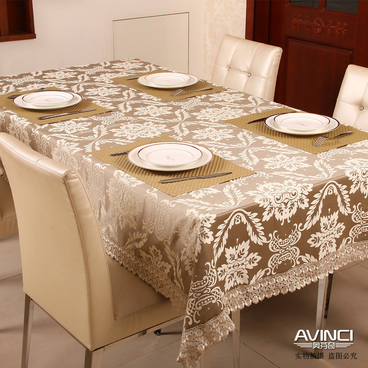 Free shipping fashion elegant fabric of luxury dining for Coffee table cover ideas