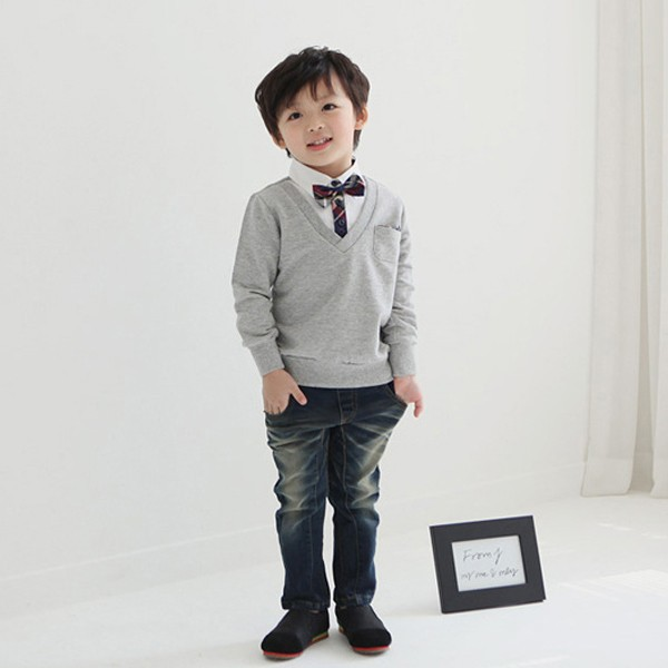 Wholesale Kids Boys Bow Tie T Shirt Long Sleeve Pullover Sweater