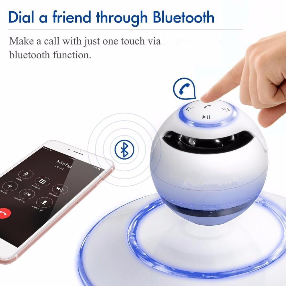 Stereo Sound Portable Magnetic Levitation Speaker Wireless Floating Orb Bluetooth Speaker LED for Mobile Phone MP3 Iphone Xiaomi