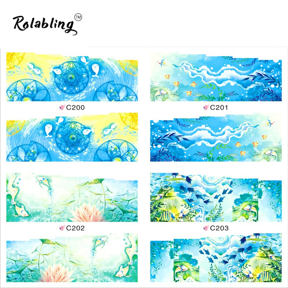 Rolabling C200-C203 Blue Stickers Nail Decoration Items Full Cover Sea Style Fingernail Decals Water Nail Sticker(China (Mainland))