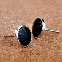 XE405 Classic Fashion 925 Silver Earring Black Stud  Earrings For Men(China (Mainland))