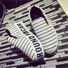 New Brand Black Letter Slip On Lazy Women Sneakers Comfortable Stripe Low Top Elevator Canvas Shoes