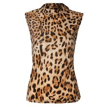 Wholesale Stylish Turtle Neck Sleeveless Leopard Print Women's Tank Top(China (Mainland))