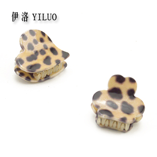 Sweet Leopard Print Cellulose Acetate Heart & Flower Small Hair Clip 5pcs/pack FREE SHIPPING(China (Mainland))