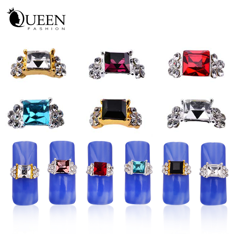 3d Alloy Nail Decorations,10pcs/lot Luxurious Charm Design Silver Gold Nail Rhinestones,Diamond Glitter Nail Jewelry Accessories(China (Mainland))