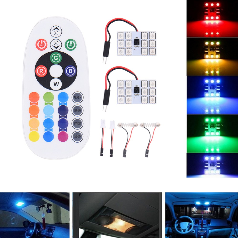 5050 12SMD 16 light board Remote Control Car Interior car styling LED Light RGB Dome Reading Flashing Light bulb lamp universal()