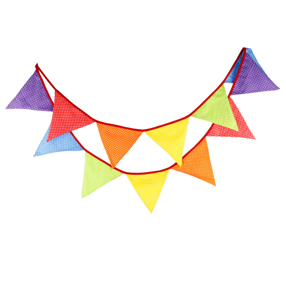 New 12 Flags - 3.2M Cotton Fabric Banners candy colour Bunting Decor children camping bunting birthday photo garland(China (Mainland))