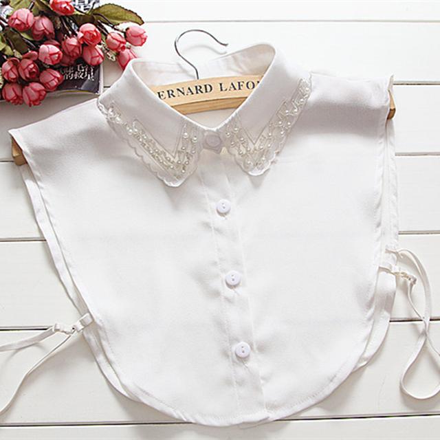 Женщин съемный воротник белый шифон перл половина блузки ложные воротник FC070