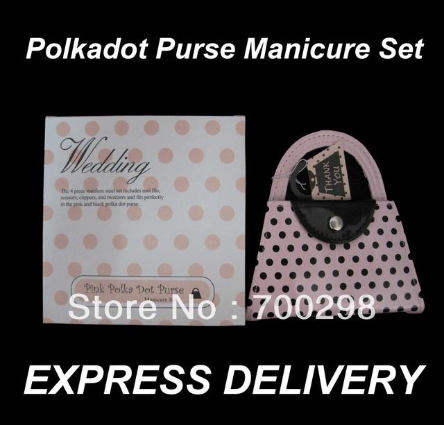 100sets/lot Pink Polka Dot Purse Manicure Set Pedicure Wedding Favor Guest Gift, Free Shipping