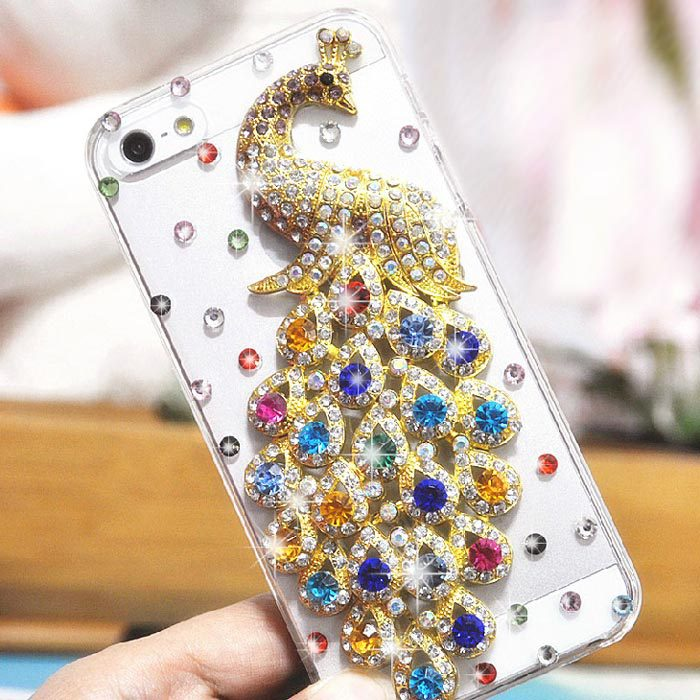 For iphone 5 iphone 5s iphone5s iphone5 New Transparent Bling Diamond Peacock Clear Crystals Hard phone Case cover(China (Mainland))