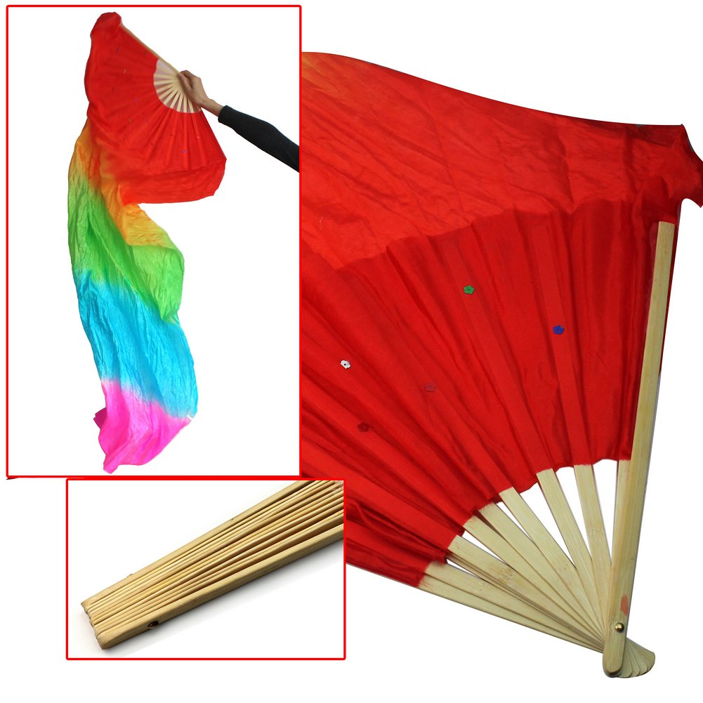 SAF Hot New 1.8M Hand Made Belly Dance Dancing Silk Bamboo Long Fans Veils Art Colorful<br><br>Aliexpress