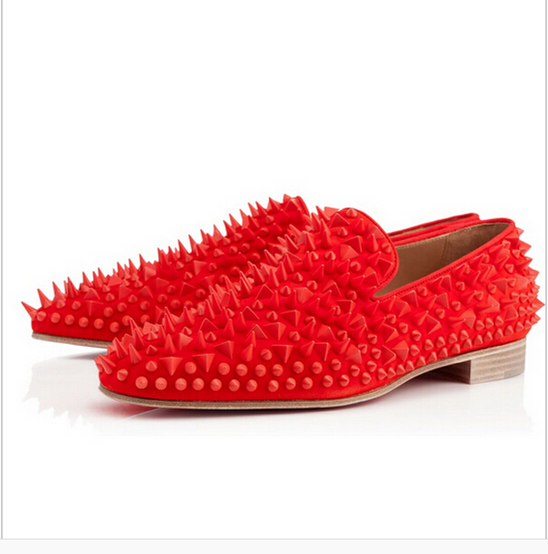 New Arrival 2016 Rivet Flats for Men Fashion Rivet Shoes Top Brand Red Bottoms Flats Red and Black Drop Ship