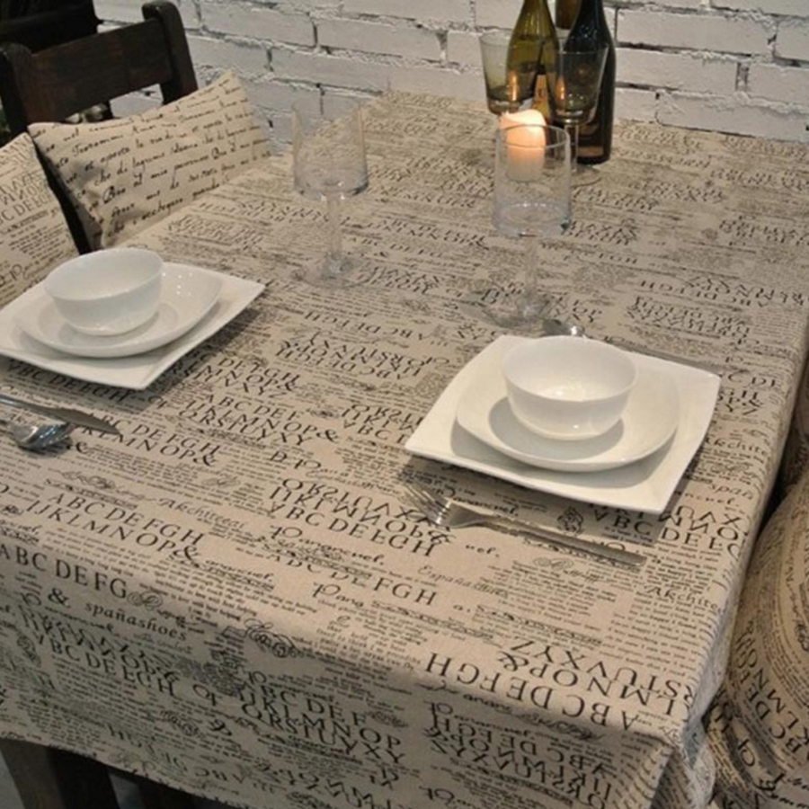 Hot Sale!!! European Style Letter Linen Tablecloths Microwave Oven Dustproof Cover High Quality Home Party Table Cloth(China (Mainland))