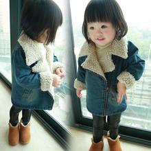 Baby Girls Denim Coat 2015 Fall Little Kids Velvet Warm Zipper Jackets Child Winter Outerwear Coat Children's Fashion Clothing