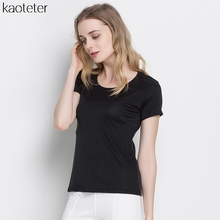 Buy 100% Pure Silk Women's T-Shirts Femme Tops Tees Shirt Women Casual Solid Candy Color Female Short Sleeve Fashion Ladies Shirts for $18.76 in AliExpress store