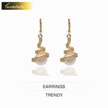 Geometric Earrings,Cute Gold Plated & Pearl Gift Accessories For Women Girls,Green Gold Ball Pearl Earrings Wholesale(China (Mainland))