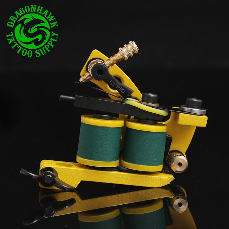 New Professional Shader And Liner Tattoo Machine 10 Warps Coils Cast Iron Yellow Tattoo Gun Handmade Tattoo Machine