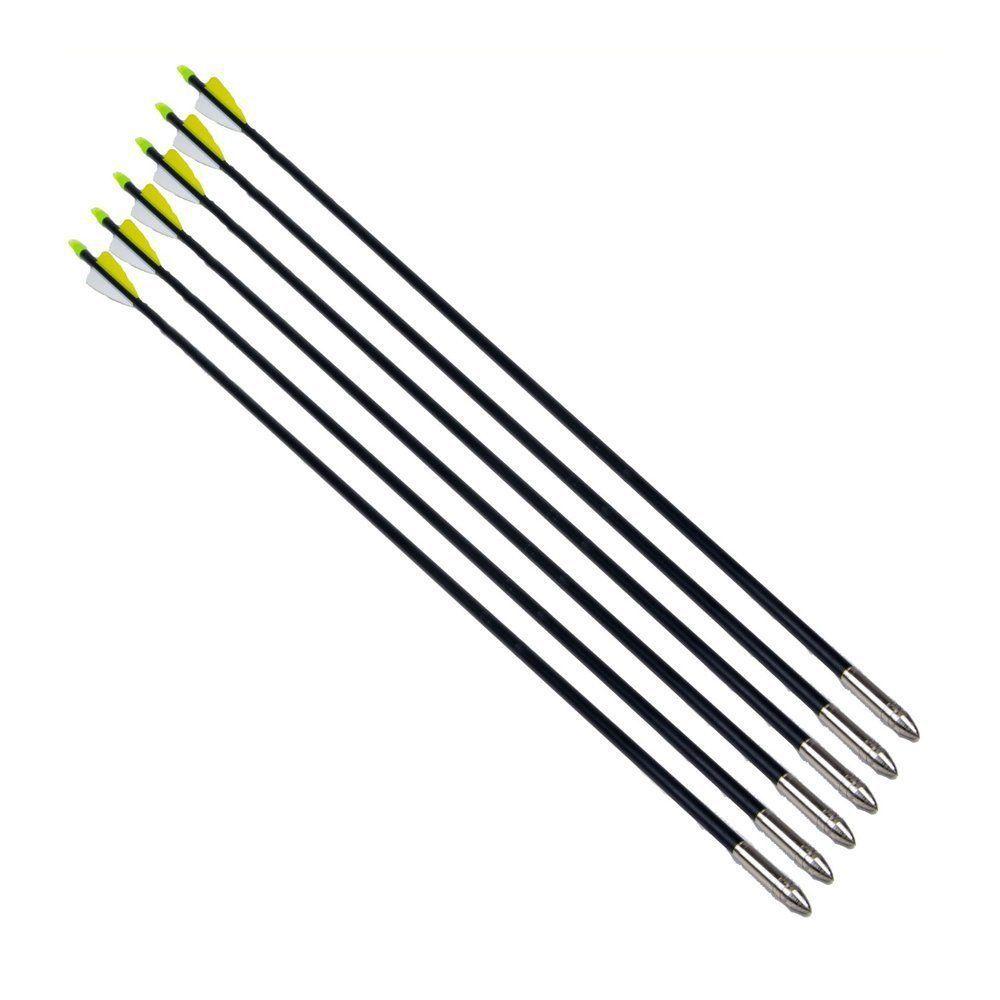 6PC 80CM Archery Fletched hunter Arrows Fiberglass Practice Steel Arrow Head for Sport Practice and Shooting