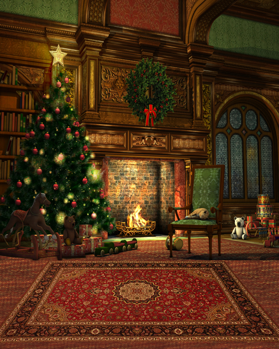 Attractive Christmas Garland Christmas Fireplace Photography Backdrops Fashion Backgrounds