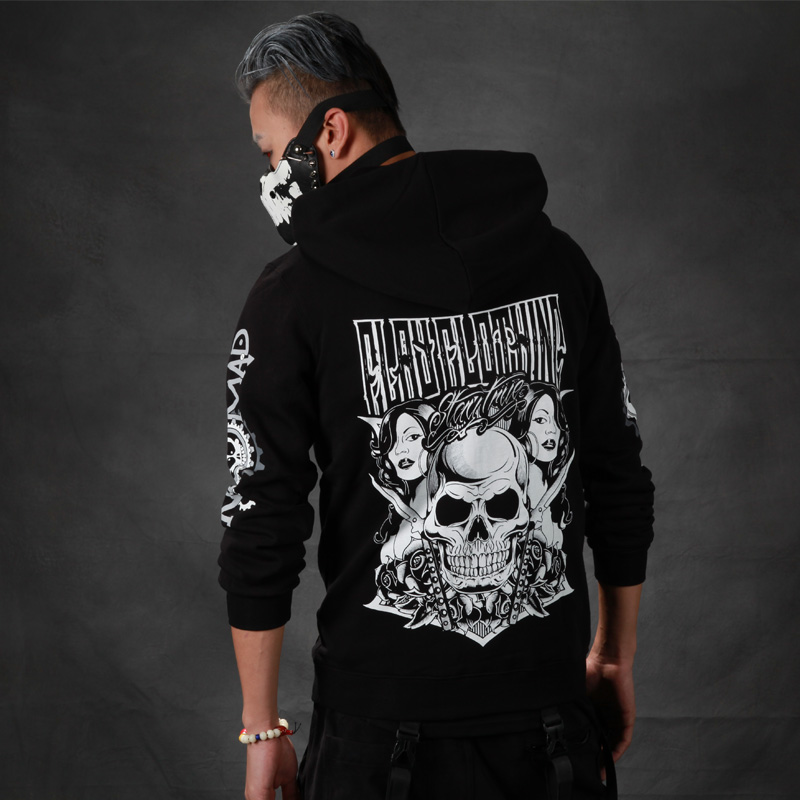 2017full Standard Full None Regular V-neck Cotton Skulls New Arrival Real Europe And The Tide Head Skull With A Hat Men(China (Mainland))
