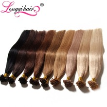 "U / Nail Tip Hair Extensions Pre Bonded Keratin Glue Fusion Hair Extensions Indian Remy Colorful Human Hair Pieces 18""-24"" 0.5/s(China (Mainland))"
