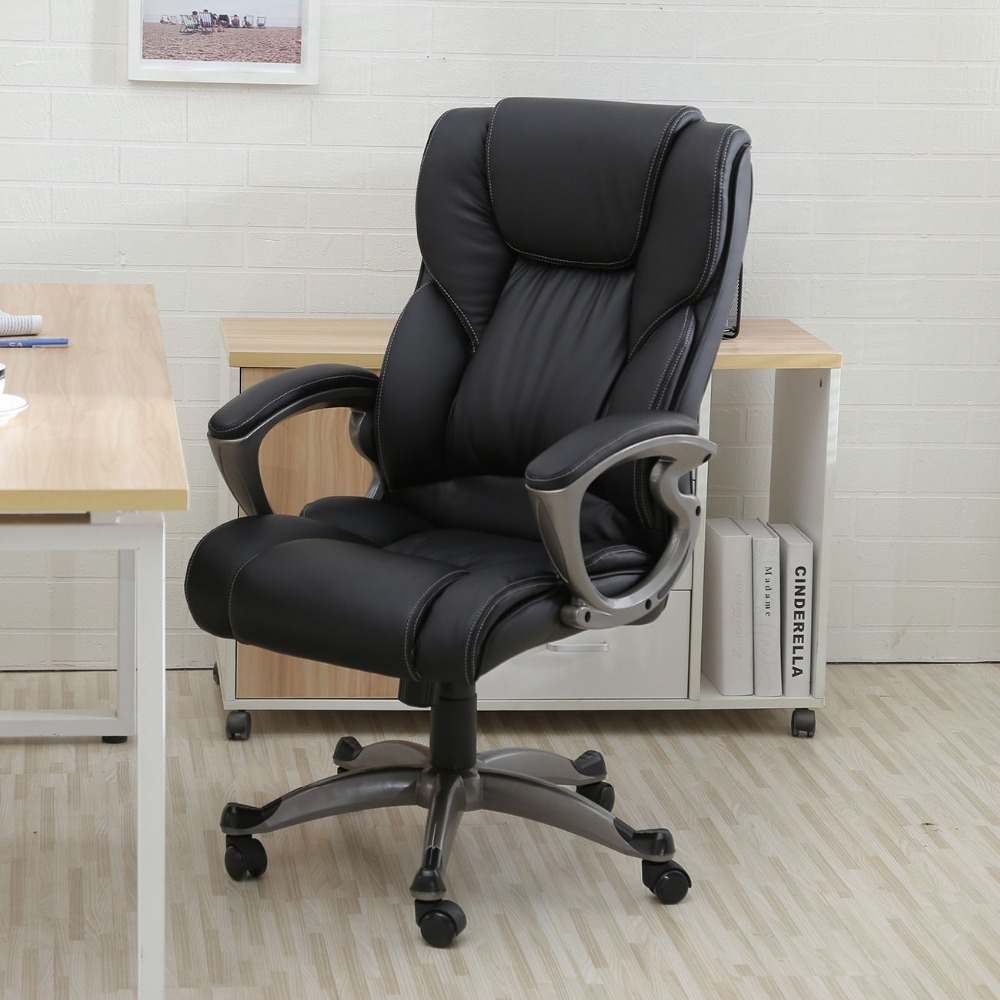 desk black pu leather high back office chair in living room chairs