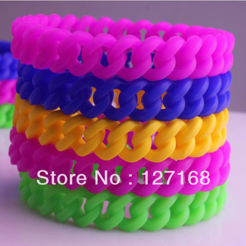 30pcs/lot Silicone Rubber Sport Wristband Cuff Bracelet Bangle Free Shipping For Gift