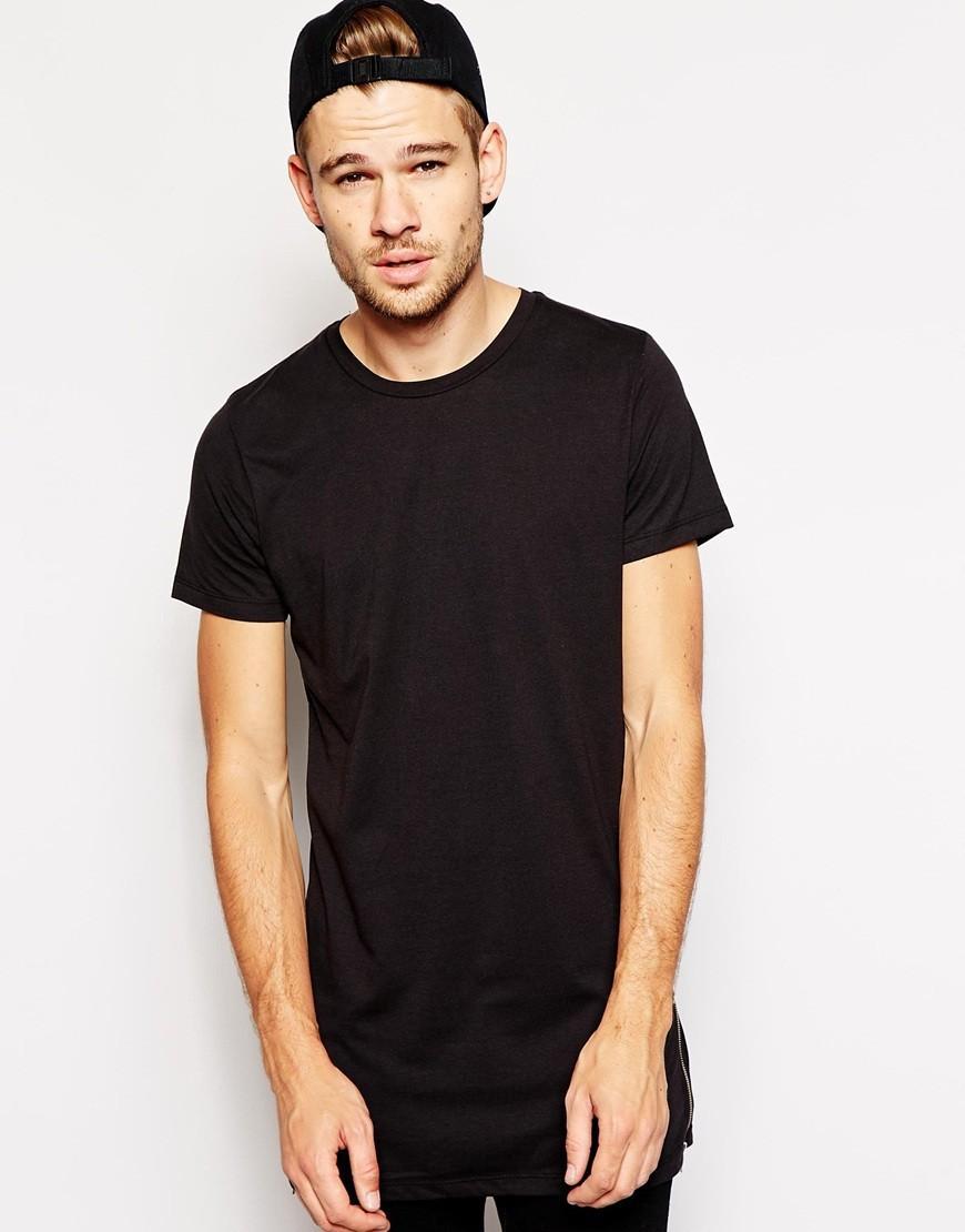Free shipping fashion long size black t shirt short sleeve for Short t shirt men