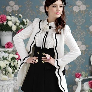 Hitz large doll pink white petal edges trimmed black wool coat jacket Slim - Forefront fashion shops store