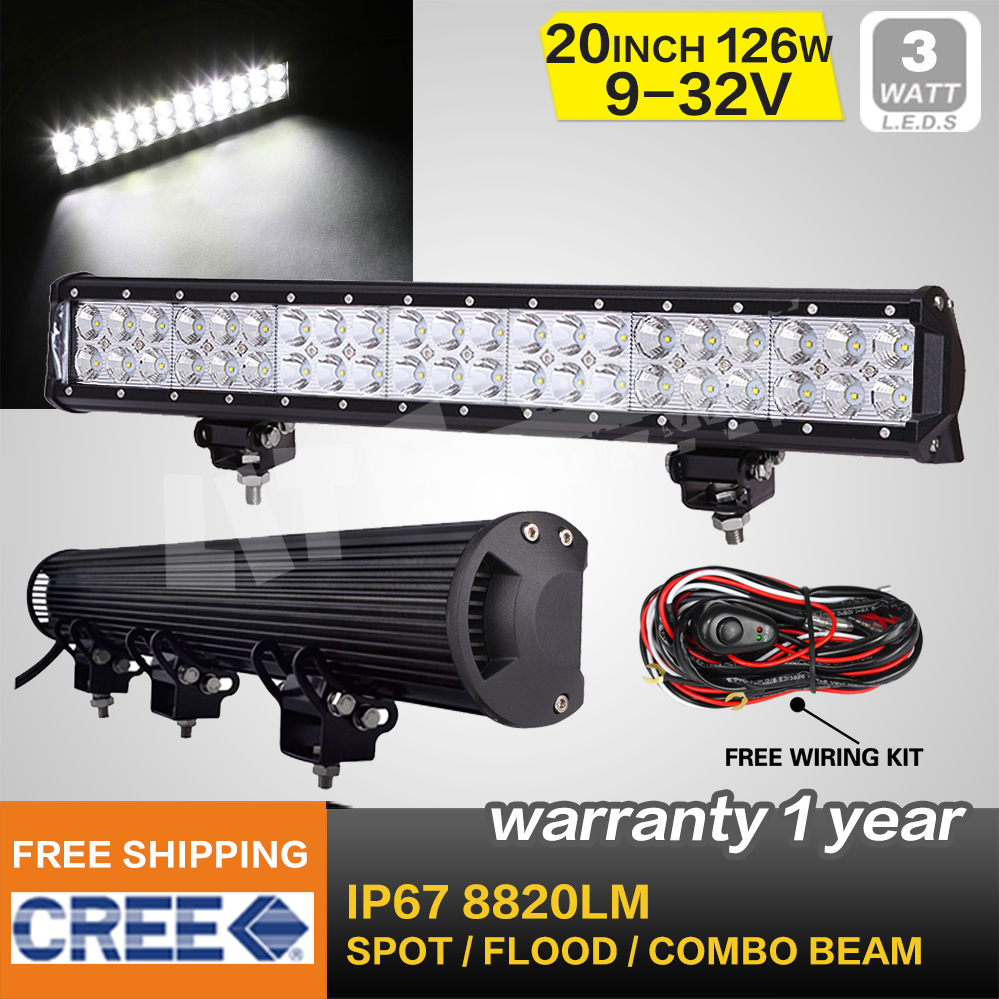 126W CREE LED LIGHT BAR 20 INCH COMBO BEAM OFFROAD LAMP FOR MOTORCYCLE TRACTOR BOAT MILITARY EQUIPMENT ATV 4WD LED BAR(China (Mainland))