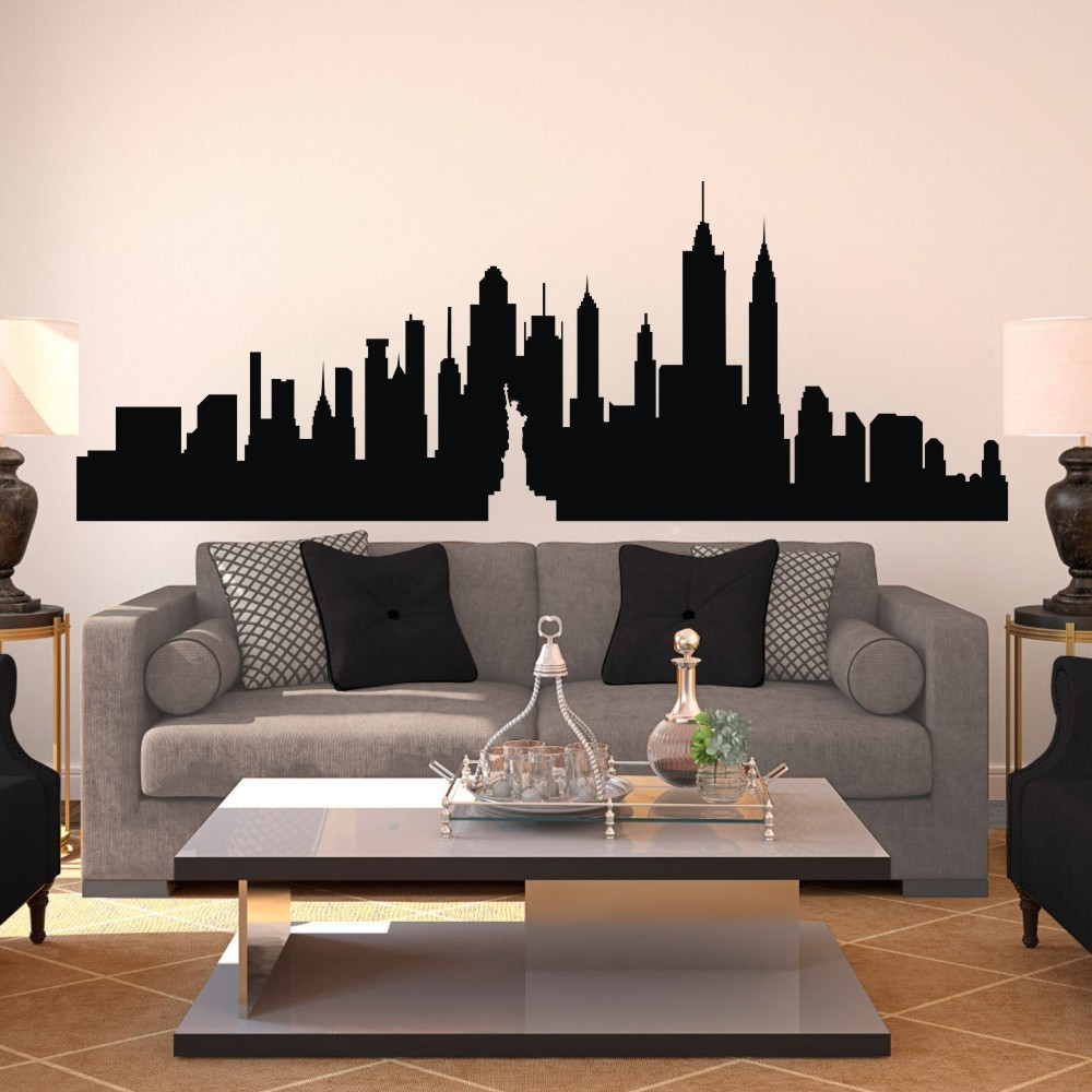 """New York City Skyline -The Big Apple Wall Sticker NYC Vinyl Wall Decal Art Kids room decoration Wall Graphic mural 35""""H X96""""W(China (Mainland))"""