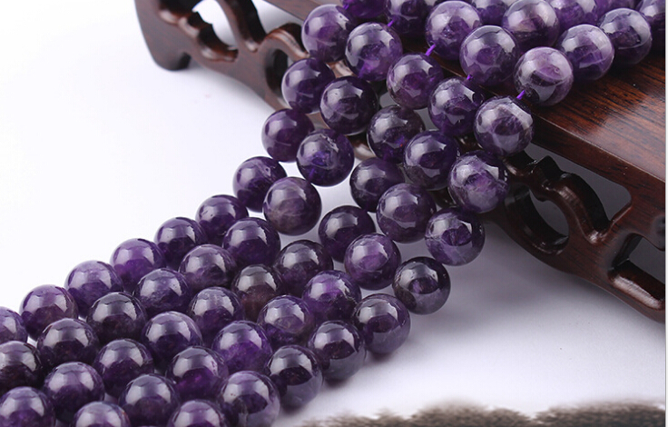"6 8 10 12 MM Natural Stone Smooth Amethyst Quartz Loose Beads 16"" Strand Pick Size For Jewelry Making 4Z786(China (Mainland))"