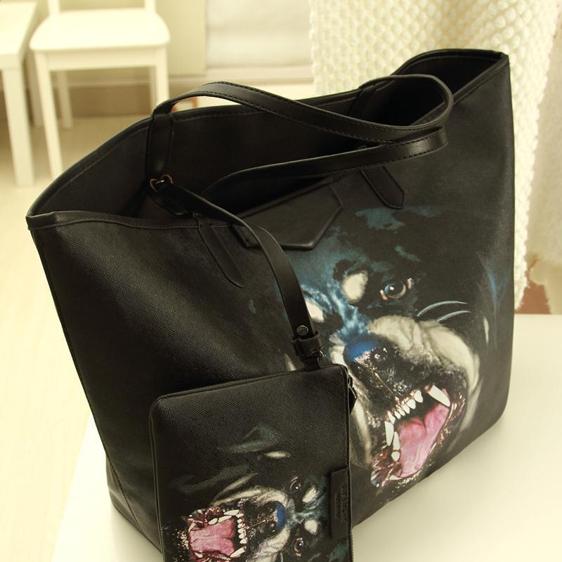 2015 EW dog women's handbag black big bags picture package portable one shoulder women messenger bag(China (Mainland))