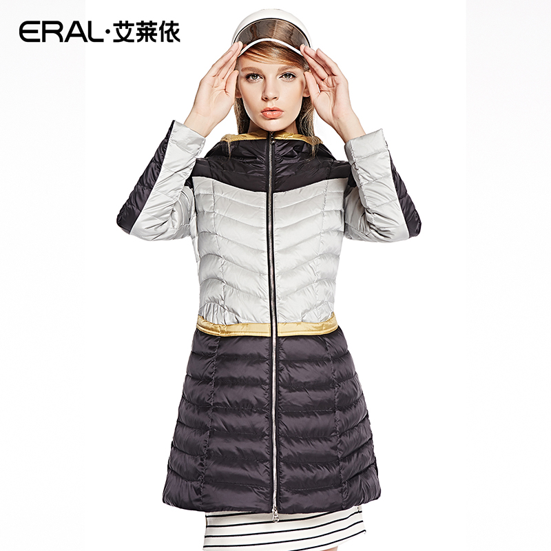 ERAL 2014 Winter Coat Women's Casual Slim Contrast-Color Hooded Thick Long Jacket Outerwear Plus Size ERAL6053C