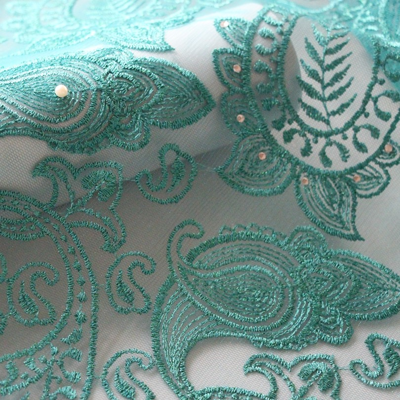 2016 Latest african beaded french lace fabric high quality tulle net lace fabric in teal green for big party dress F50282