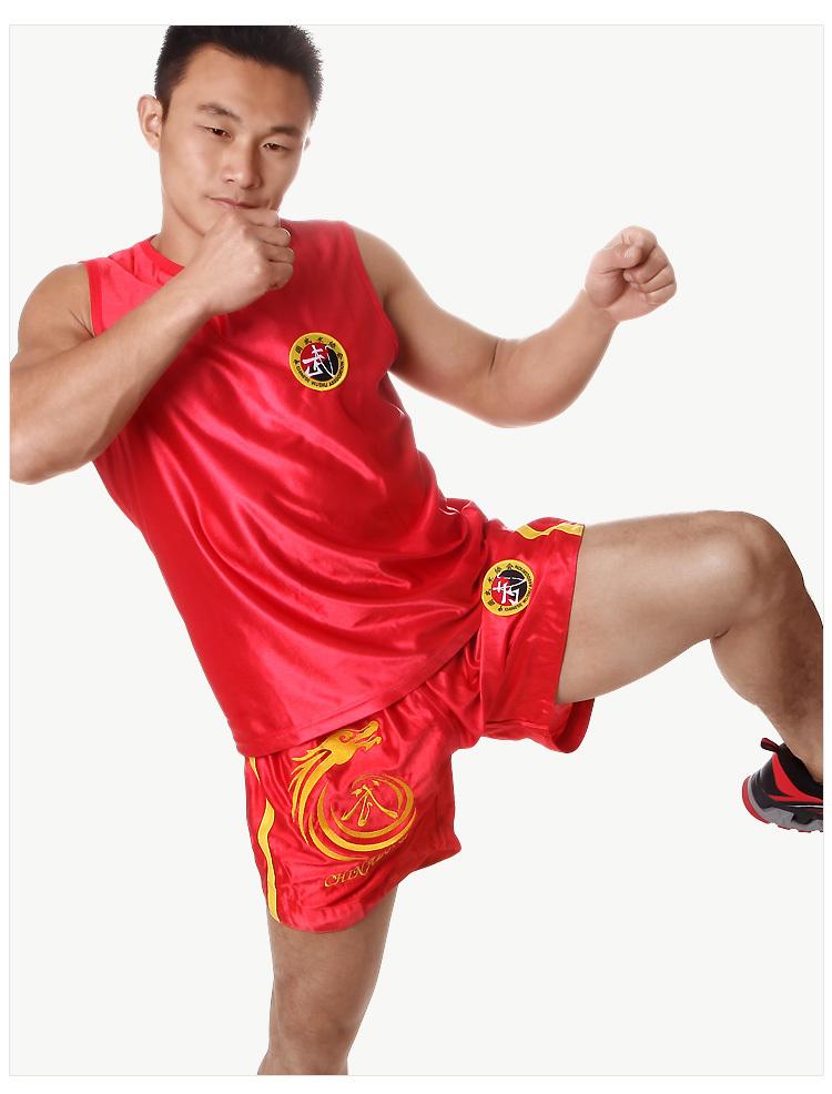 Embroidery Sanda mma shorts Training Sleeve Shorts Fitness Clothing Muay thai Sports T-Shirt Boxing MMA Trunks(China (Mainland))