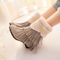 New Fashion Ladies Shoes Round Toe Casual Snow Boots Tassel Height Incressing Ladies Warmer Boots