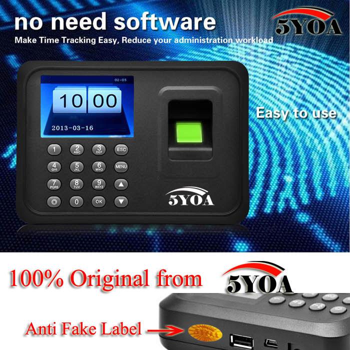 Biometric Fingerprint Time Attendance Clock Recorder Employee Digital Electronic English Portuguese Voice Reader Machine