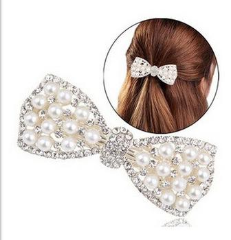 2015 Cheap New Cute Bow Crystal Pearl Barrettes Hair Clip Hairpin Headwear for Women Fashion Hair Jewelry Accessories