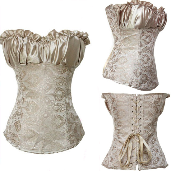 Wholesale Free P&P Women/Girl's Steel Boned Lack Up Back Over Bust Noble Corset Basque & Lingerie/G-string Outfit S-XXL C5