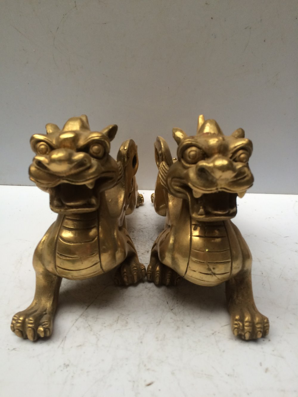 antique antiques chinese brass carre brave troops one pair statue(China (Mainland))