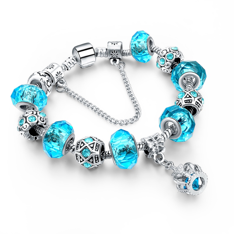 2016 Russia Belarus Popular 925 Silver Charm Bracelet & Bangle with Royal Crown Pendant & Blue Crystal Beads Diy Jewelry(China (Mainland))