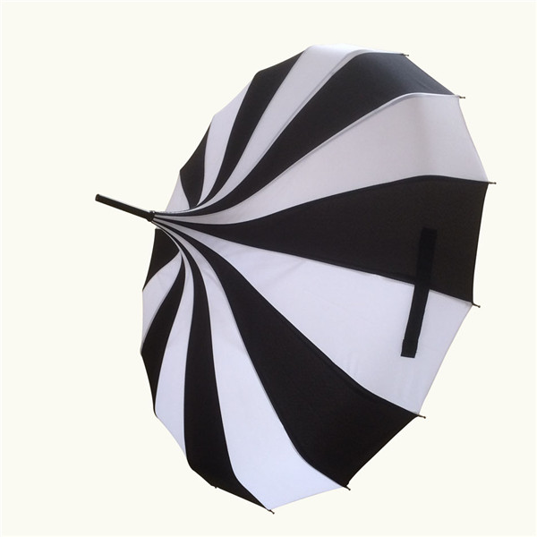 (1 piece/lot) New long-handle pongee canopy white and black colors fancy pagoda umbrellas(China (Mainland))